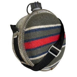 Retro Flannel Stripe Cylinder Hiking Canteen